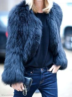 Blue Faux Fur Coat by They All Hate Us