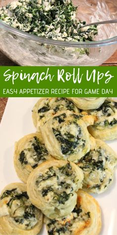 Spinach Roll Ups! Easy Appetizer Recipe for Game Day! This is one of our favorite party recipes! Spinach Roll Ups! Easy Appetizer Recipe for Game Day! This is one of our favorite party recipes! Creamy Spinach Roll Ups Recipe, Spinach Rolls, Easy Spinach Recipes, Easy Appetizer Recipes, Yummy Appetizers, Easy Party Recipes, Easy Appetizers For Party, Spinach Appetizers, Seafood Appetizers