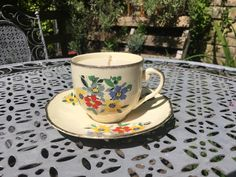 These are made using upcycled vintage teacup and saucer sets, with unscented candle wax. The best part is, when the candle is done just wash the cup out with hot water and you can use it for tea again! Teacup Candles, Upcycled Vintage, Tea Cups, Tableware, Handmade, Stuff To Buy, Etsy, Dinnerware, Hand Made