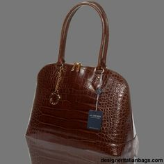 ARCADIA Italian DESIGNER CHOCOLATE CROC LEATHER LARGE BOWLING BAG