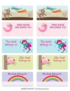 cute little book plates Book Labels, Printable Labels, Avery Label Templates, Handwriting Practice Paper, School Labels, Reading Rainbow, School Fun, Preschool Crafts, Craft Tutorials