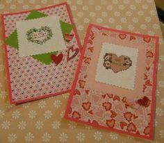 BE MINE Valentines Cross Stitch Greeting Cards SET of 2 Handmade by CraftyCrossStitches for $12.00