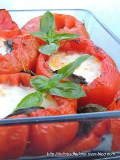 Tomates coeur de boeuf farcies à la mozzarella et basilic