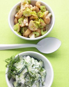 Potatoes Vinaigrette - Pouring Dijon mustard and white-wine vinegar over boiled new potatoes while they're still warm enables them to soak up the flavors as they cool. A double punch of celery -- both thinly sliced stalks and leaves -- add flavor and crunch to this potato salad.