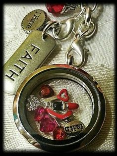 """Heart disease and awareness locket idea.  To order:  www.angeladewine.origamiowl.com   """"Like"""" me on Facebook for sales, information and events! www.facebook.com/angelasorigami"""