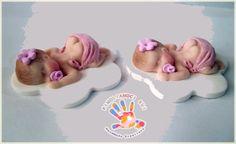 Bimba che dorme in fimo, bomboniera nascita o battesimo