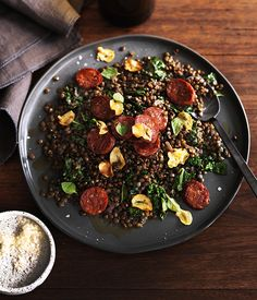 Green lentils with salami and cavolo nero :: Gourmet Traveller