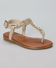 Look at this QQ Girl Nude Rhinestone Julia Sandal on #zulily today!