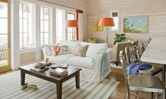 Love this orange and turquoise. Great ideas for the beach house.