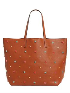 1d2e401a50f6 RED VALENTINO Multicolor Stars Leather Tote Bag, Tan. #redvalentino #bags  #leather #hand bags #tote #