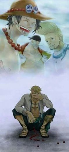Marco, Thatch, Shirohige et Ace - One piece