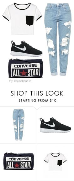 """Untitled #20"" by kayleebear02 ❤ liked on Polyvore featuring Topshop, NIKE and Converse"