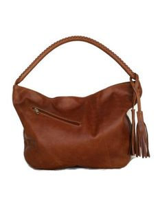 Genuine tan rustic leather medium hobo bag purse shoulder handbag handmade with fringe Sofia