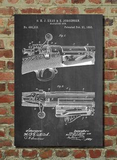 Krag Jørgensen Repeating Rifle Patent Print, Bolt Action Print, Gun Decor, Gun Enthusiast
