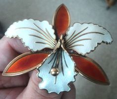 LARGE Norwegian Silver Enamel Orchid Brooch - Aksel Holmsen