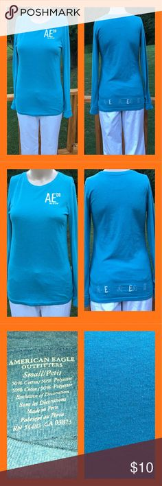 AE Blue Long Sleeve Shirt American Eagle blue long sleeve shirt size small . Soft and comfy, good material, not super thin therefore not see through material. Sleeves can be rolled on the ends or left down to be a little longer than normal sleeves. Smoke free home. American Eagle Outfitters Tops Tees - Long Sleeve