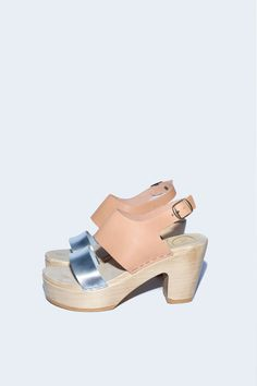 Two Tone Clog on Platform in Naked/Silver