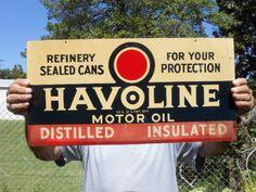 Vintage Metal Sign Havoline Motor Oil, Distilled Insulated Refinery Sealed Cans #Havoline