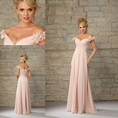 2015 Pink Off the Shoulder Long Mother of the Bride Dresses Pleated Chiffon Sleeveless with Flower Floor Length A-line Wedding Guests' Dress Online with $107.36/Piece on Marrysa's Store | DHgate.com
