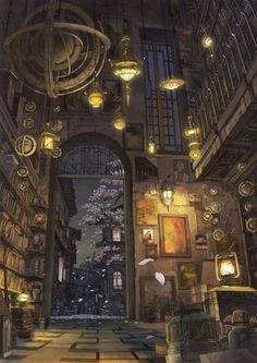 ilustración biblioteca, libros, bazar, tienda de antigüedades, candiles.