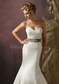 Satin Sweetheart Mermaid Natural Waist Sleeveless Floor Length Wedding Dress - Angeldress.co.uk