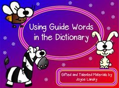 Using Guide Words For the Dictionary in Power Point - I created this power point with higher level questioning in an attempt to make a basic skill enriching.  This power point uses the gradual release method to teach kids to use guide words. It also contains standards, connections to past learning, tell your neighbor prompts, and all of the other expectations should one be evaluated.