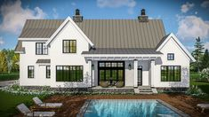 Modern Farmhouse with Vaulted Master Suite - 14661RK thumb - 03