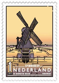 De Hiemerter Molen in Burgwerd (Friesland), een spinnenkop, een kleine, afgeleide uitvoering van de wipmolen, typisch voor deze provincie.  http://collectclub.postnl.nl/pages/detail/s1/10220000001893-2-21010000000080.aspx