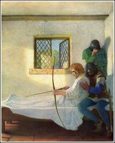 Robin Hood on his death bed - painted by NC Weyeth