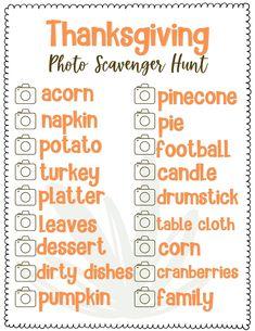 Thanksgiving Scavenger Hunt Game For Kids