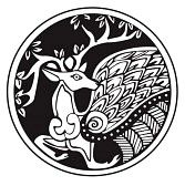 druidic : A druidic astronomical symbol of a deer, in a circle pattern artwork, isolated against a white