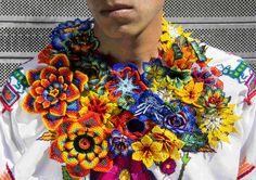Superfertile By Kali Arulpragasam x Wixarika 'Gold Diggers' Collection - The Snobette Crochet Necklace, Beaded Necklace, Mexican Textiles, French Beaded Flowers, Mexican Designs, Bead Art, Fabric Decor, Fabric Scraps, Wearable Art