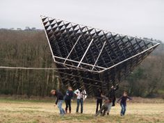 Attempt to fly Blue Bell Hangar, an experimental sculpture by New British Art at their base in Carmarthenshire, ...