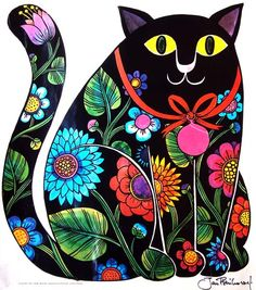 UK (Polish Born) ~ Jan Pienkowski ~ Folk Art Cat More and like OMG! get some yourself some pawtastic adorable cat apparel! Bordado Popular, Polish Folk Art, Russian Folk Art, Art Populaire, Illustration Art, Illustrations, Cat Quilt, Decoupage Vintage, Folk Embroidery