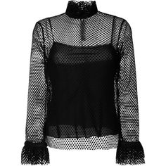 Philosophy Di Lorenzo Serafini ruffled net lace blouse ($467) ❤ liked on Polyvore featuring tops, blouses, black, frilly blouse, net tops, lace blouse, frill blouse and flutter-sleeve tops