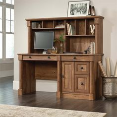 Enjoy a classic blend of craftsmanship with the addition of this wonderful SAUDER Palladia Vintage Oak Computer Desk with Hutch. Office Desk With Hutch, Desk Hutch, Home Office Desks, Home Office Furniture, Furniture Usa, Office Workspace, Pallet Furniture, Antique Furniture, Desk Redo