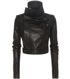 Veste raccourcie en cuir noir Rick Owens