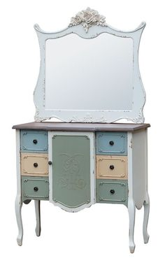 SHABBY-CHIC-VINTAGE-DRESSING TABLE/CONSOLE/CHEST OF DRAWERS WITH MIRROR