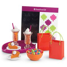 American Girl Doll Brand Fall Party Treats (own) American Girl Food, American Girl Doll Sets, American Girl Store, American Girl Parties, American Girl House, American Girl Accessories, Baby Doll Accessories, Our Generation Dolls, Doll Party