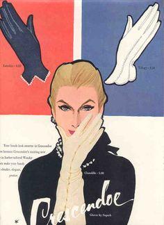 1953 Crescendoe gloves vintage ad art by Rene Gruau