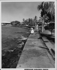 Sea wall of Kailua waterfront, Hawaii Island.