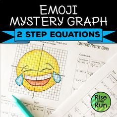 Practice solving simple equations with this fun activity! Students always love coordinate graph pictures. Students solve two-step equations that include multiplying, dividing, adding, subtracting, and distributing. Each solution creates an ordered pair Two Step Equations, Graphing Activities, Solving Equations, 8th Grade Math, Algebra 1, Math Concepts, Middle School, Emoji, Classroom