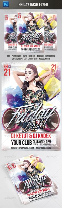 FRIDAY BASH FLYER TEMPLATE #saturday party #house  • Download here → https://graphicriver.net/item/friday-bash-flyer-template/8533532?ref=pxcr