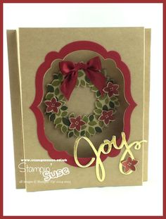 Shadow Box Wreath card - made with Stampin' Up! Wondrous Wreath Stamp Set 135047 and Wonderful Wreath Framelits Dies 135851! - full pdf on www.stampinsuse.co.uk