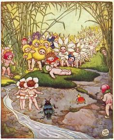 Gum-nuts Chucklebud and Wunkydoo Photo: May Gibbs' Australian fairies. Australian Animals, Australian Art, Vintage Fairies, Vintage Art, Nostalgic Images, Beautiful Fairies, Cute Illustration, Art Illustrations, Flower Fairies