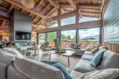Chalet Largo - villa Chalet Largo Megeve | Isle Blue House Plan With Loft, Loft House, House Plans, Mountain Home Exterior, Chalet Design, Jacuzzi Outdoor, Indoor Swimming Pools, Open Plan Living, Cottage Style