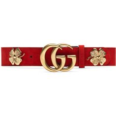 Gucci Clover Belt With Double G Buckle (9,860 MXN) ❤ liked on Polyvore featuring accessories, belts, gucci, red, red suede belt, studded waist belt, red waist belt and red belt