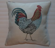 Country Chic 18x18 Rooster Pillow by DecorTreasures on Etsy