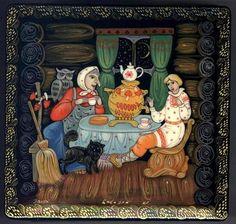 "Russian Palekh Lacquer Box ""Baba Yaga"""