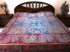 Reversible Blanket Throw Blue Red Pashmina Bedspread Bedding Sofa Throw Queen Size Bed by Mogul Interior, http://www.amazon.com/gp/product/B009OY3KXW/ref=cm_sw_r_pi_alp_7pVDqb0RZ1E2A